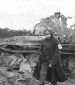 16th Grp  Medic at a German Tank  Alsace Lorraine 1945